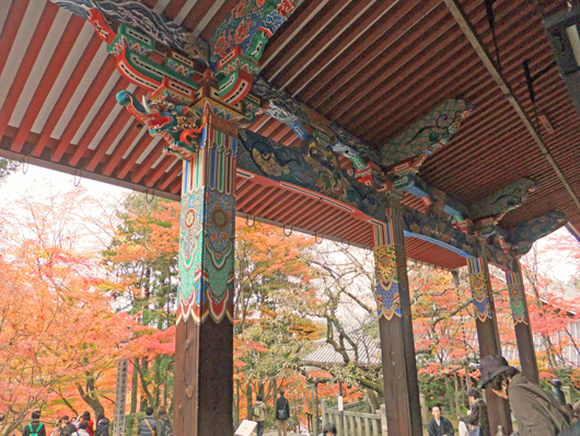 屋内から紅葉,The vermilion of a temple and the autumnal color of leaves