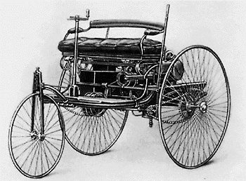 a world's first car by Benz in 1885