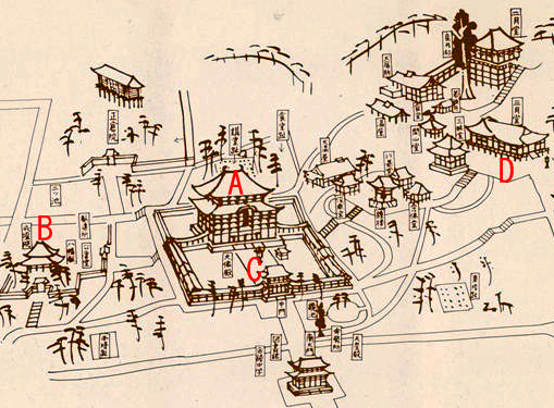 fig.2, a bird's-eye view of Todai Temple in Nara: the placement of each temple was described in it.