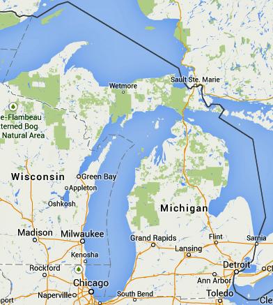 ミシガン州、右下がデトロイト:地図は約一辺800km
