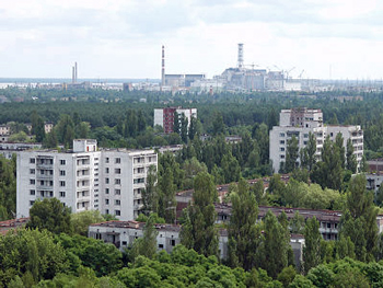.  Outskirts city of the Chernobyl nuclear plant became ruins